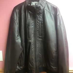 NWT Calvin Klein Brown Faux Leather Jacket
